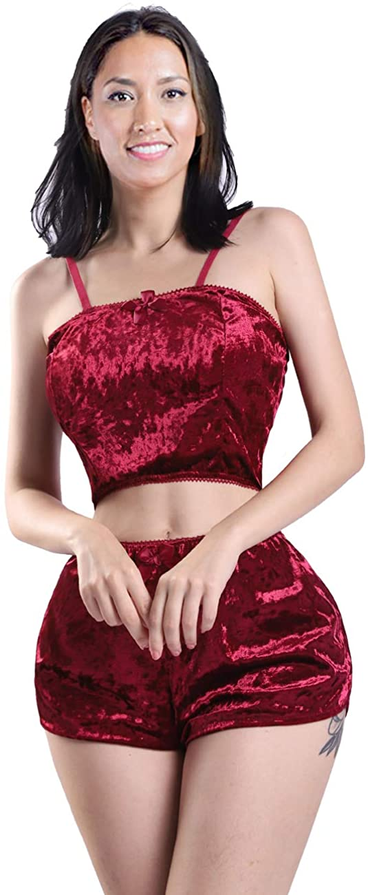 Womens Pajamas Sets Sexy Velvet 2 Piece Outfits Crop Tops Bow Camisole and Comfy Shorts Sleepwear Suit