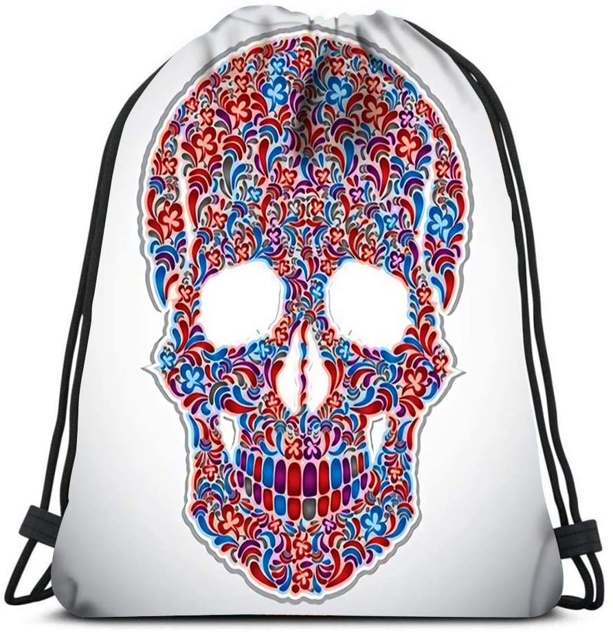 bneegxg Backpack Drawstring Bag Floral Skull