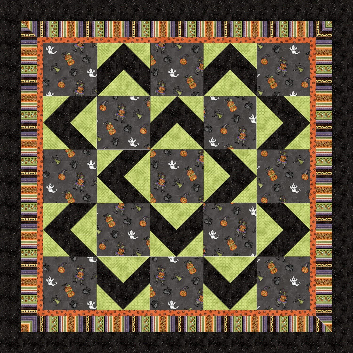 Halloweenie Walk About Quilt Kit by Robin Kingsley from Maywood Studio 100 Cotton Quilt Fabric 61 x 61 Halloween