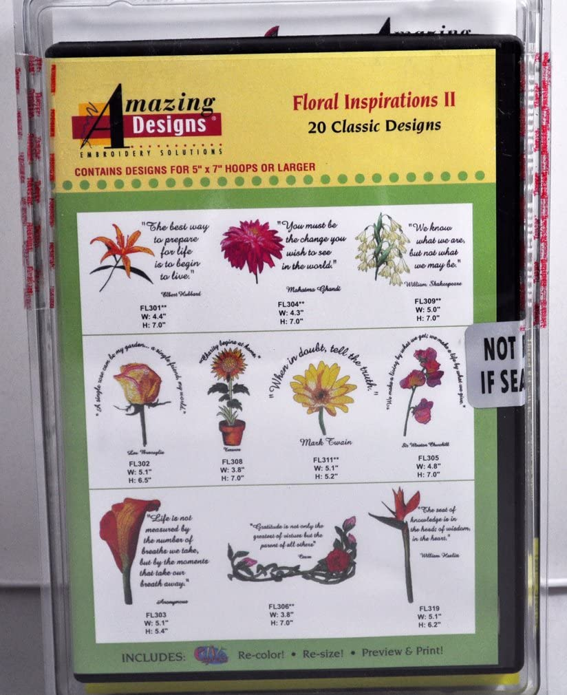 Amazing Designs Floral Inspirations II Embroidery CD, ADC-107JTK