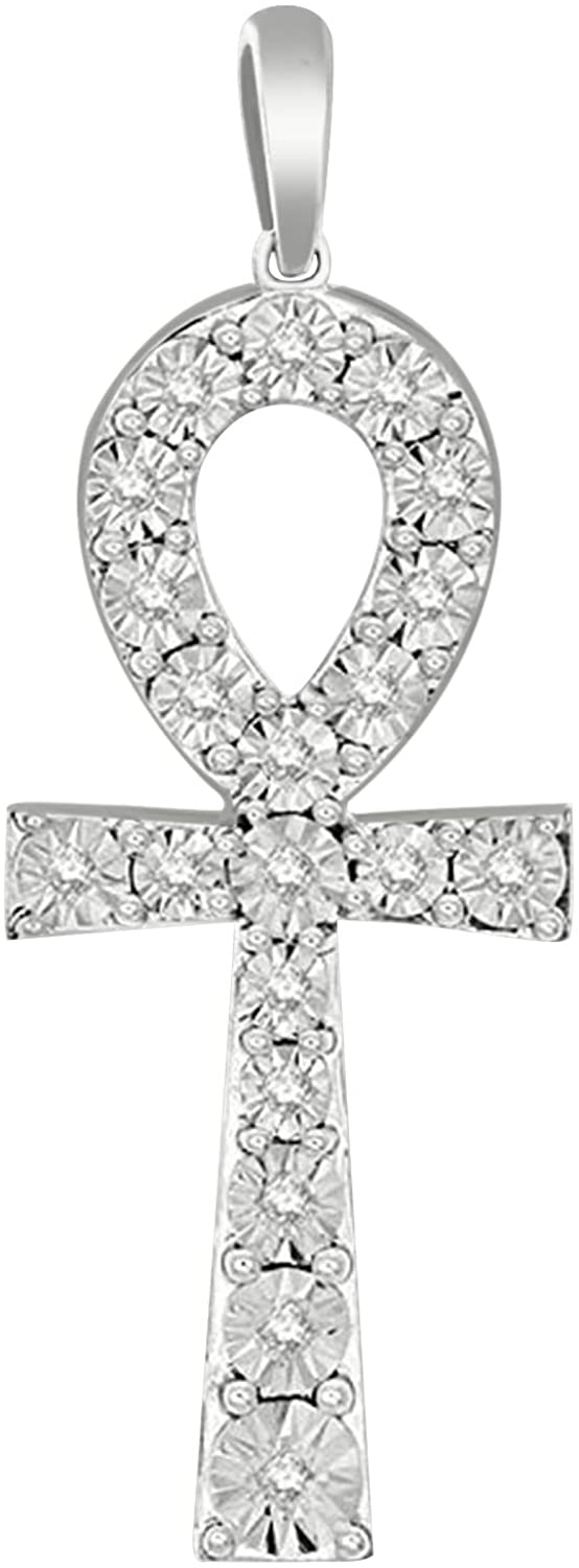 1/5 Ct Round Diamond 14K Gold Over Silver Ankh Cross Religious Pendant (Clarity -I2, Color-J)