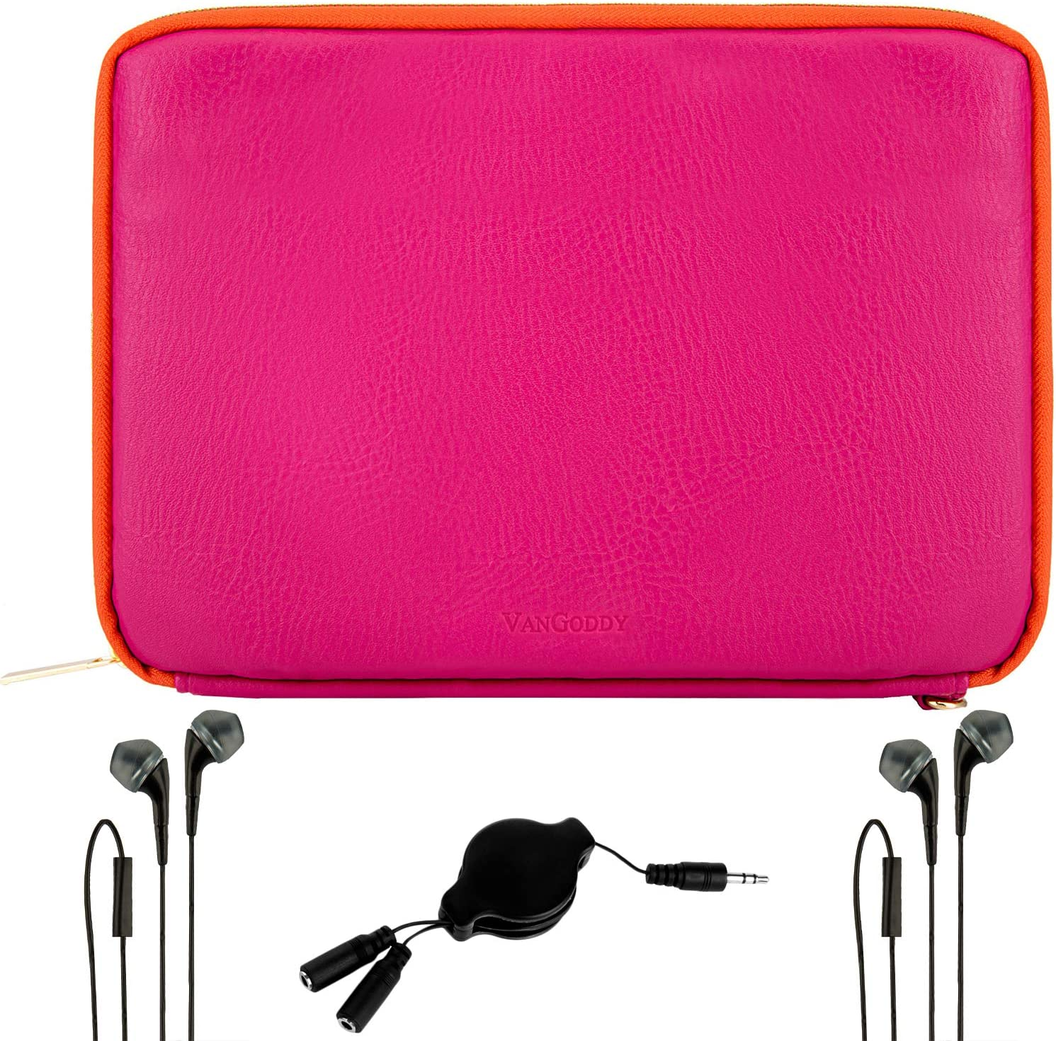 VanGoddy 2 Sets of Earbuds, Splitter and Magenta Orange Tablet Sleeve Case 10-inch Compatible with DHgate Fire 10 HD