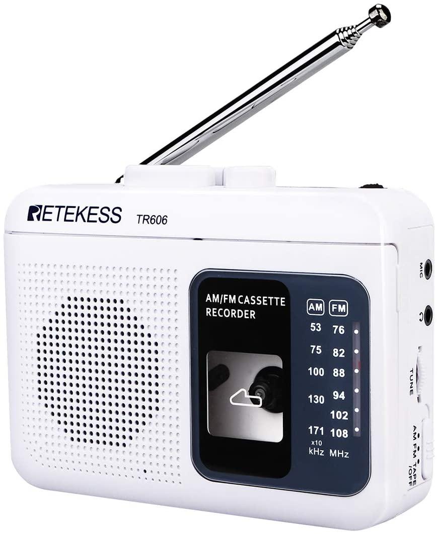 Retekess TR606 Cassette Player with Portable AM FM Radio Walkman Tape Player Recorder Support Standard 3.5mm Earphone Long Antenna