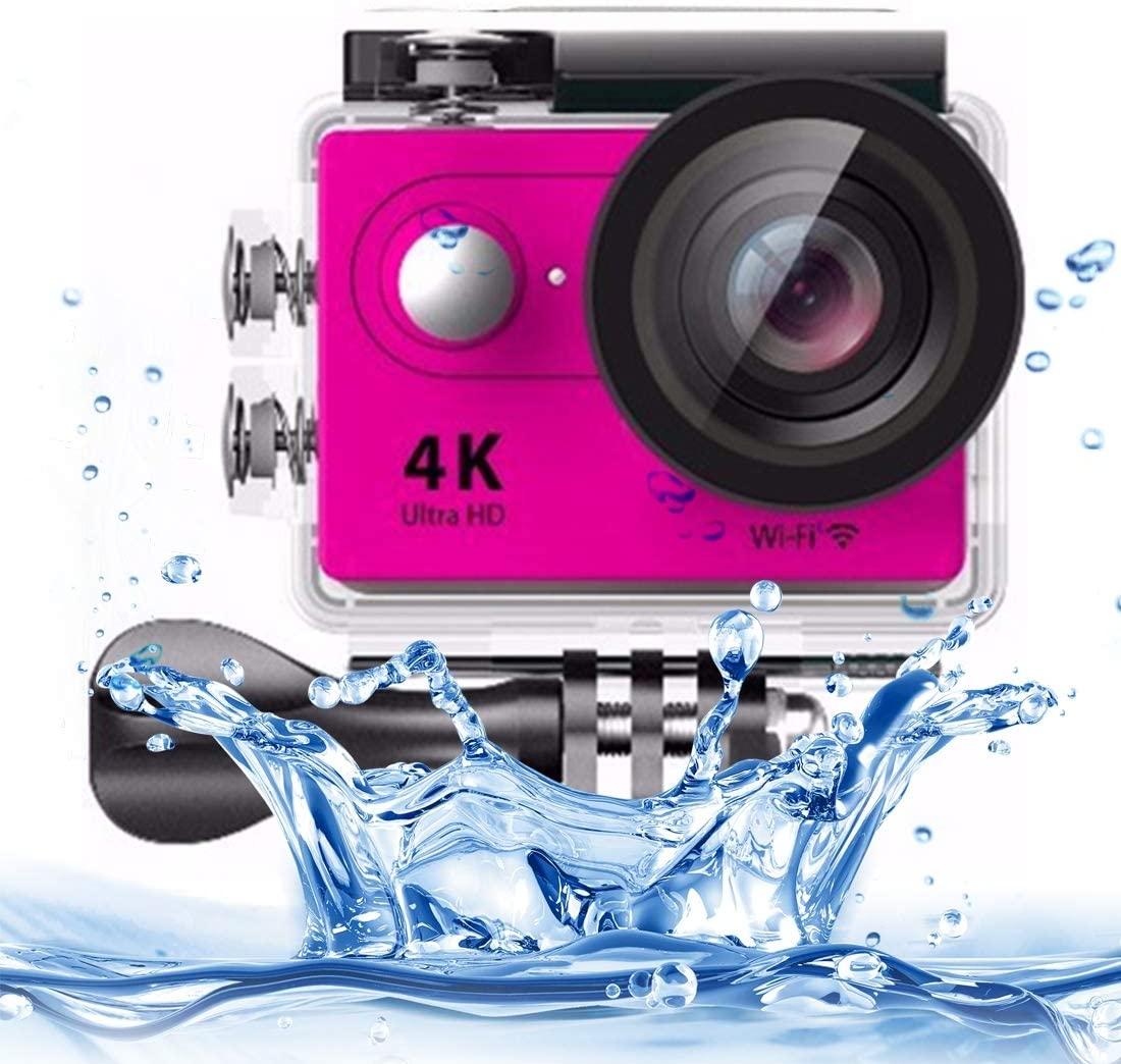 Wyanlin H9 4K Ultra HD1080P 12MP 2 inch LCD Screen WiFi Sports Camera, 170 Degrees Wide Angle Lens, 30m Waterproof(Black) Wyanlin (Color : Pink)