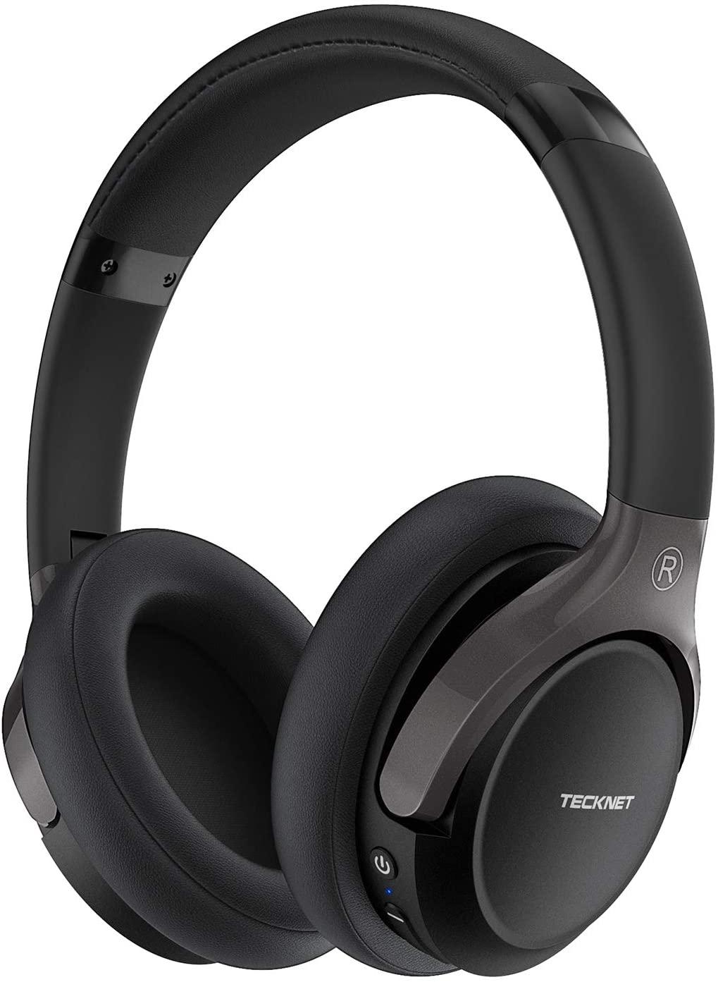 TeckNet Bluetooth Headphones Over Ear, Hi-Fi Stereo Wireless Headset,Foldable, Soft Memory Earmuffs, Audio Cable, CVC 6.0 Mic Noise-Reduction,for PC/Laptop/Cell Phones/Ipad/TV