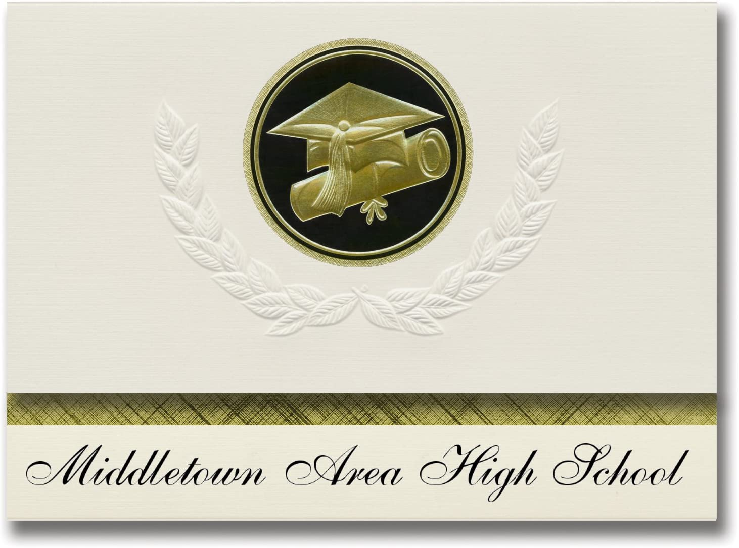Signature Announcements Middletown Area High School (Middletown, PA) Graduation Announcements, Presidential style, Elite package of 25 Cap & Diploma Seal Black & Gold