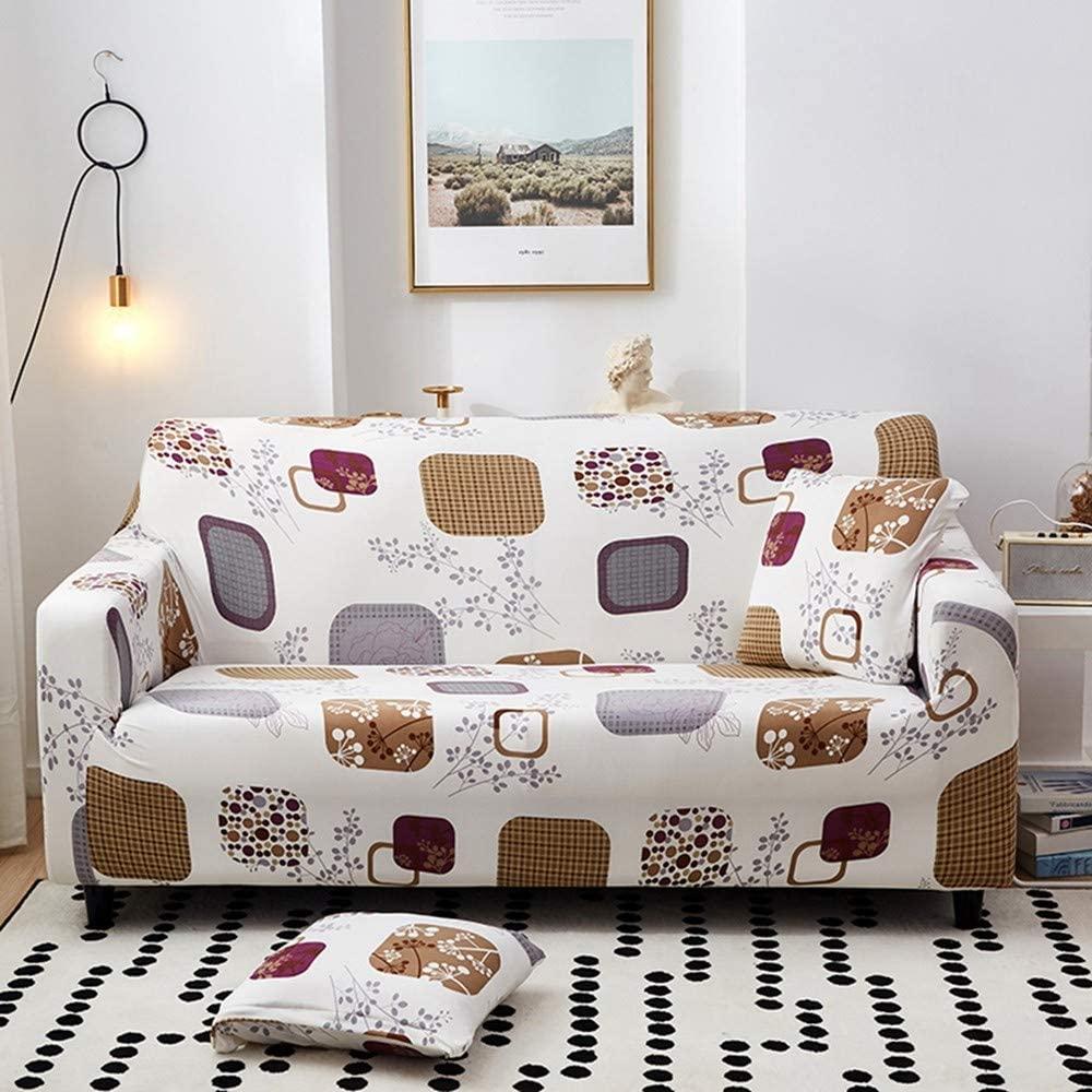 NISHIPANGZI Printed Sofa Cover Stretch,Cartoon Checkered Pattern 3D Print Sofa Cover Protector Elastic Case for Sofa All-Inclusive Non-Slip Polyester Fabric Slipcover Sofa Covers,3,Seater 190,230Cm