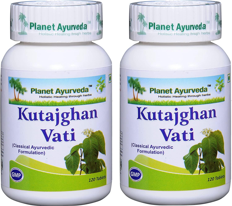 Planet Ayurveda Kutajghan Vati - Herbal Tablets, 100% Natural - 2 Bottles (Each Bottle Contains 120 Tablets)