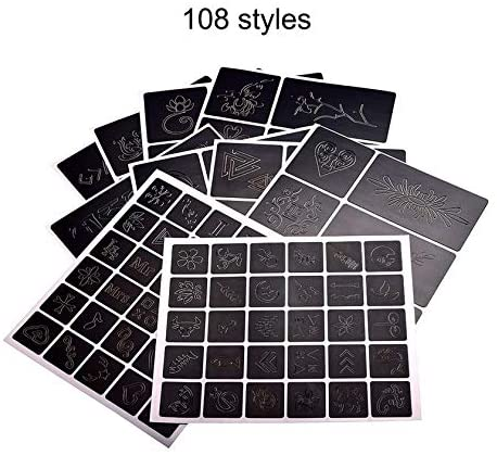 Reusable Tattoo Airbrush Stencil 108 Patterns Stencils Template Booklet Book