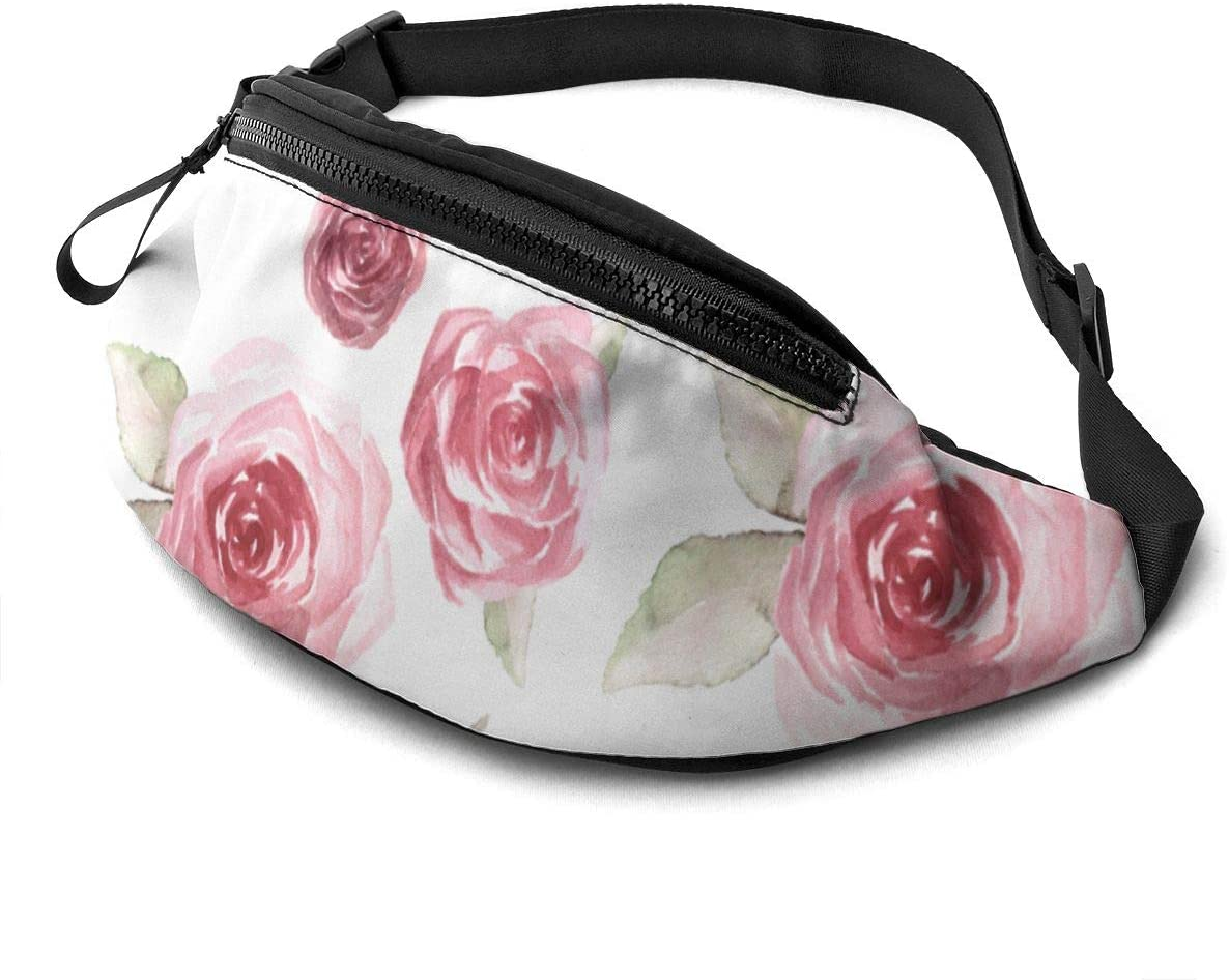 Art rose pattern Fanny Pack for Men Women Waist Pack Bag with Headphone Jack and Zipper Pockets Adjustable Straps