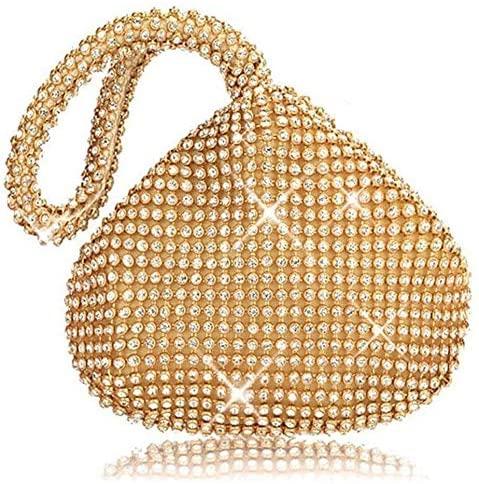 TOPCHANCES Triangle Full Rhinestones Womens Evening Clutch Bag Party Prom Wedding Purse (Gold)