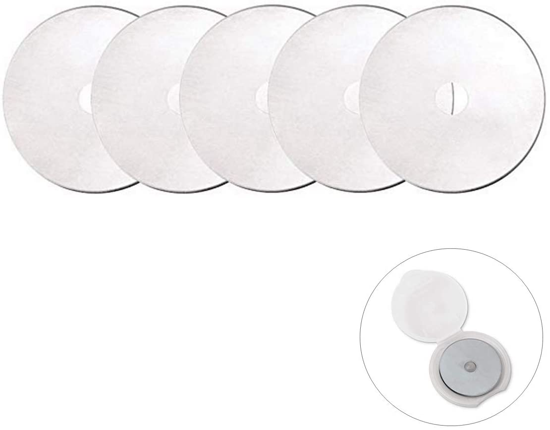 60mm Straight Rotary Replacement Blades fits Fiskars 193730-1004/Fiskars 01-005896/OLFA/DAFA/Dremel,Decorative Rotary Blades for Quilting,Scrapbooking,Leather,Vinyl etc (5pcs in a Pack)