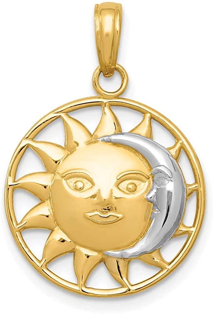 14K & Rhodium Sun & Moon Charm