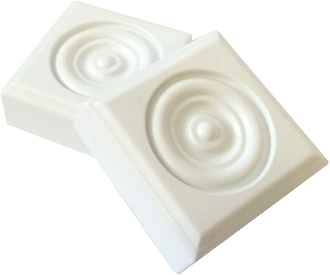 2 Piece Minute Molding Classic Plastic Block Rosette (2-3/4 in.) for Interior Doors and Windows (83051)