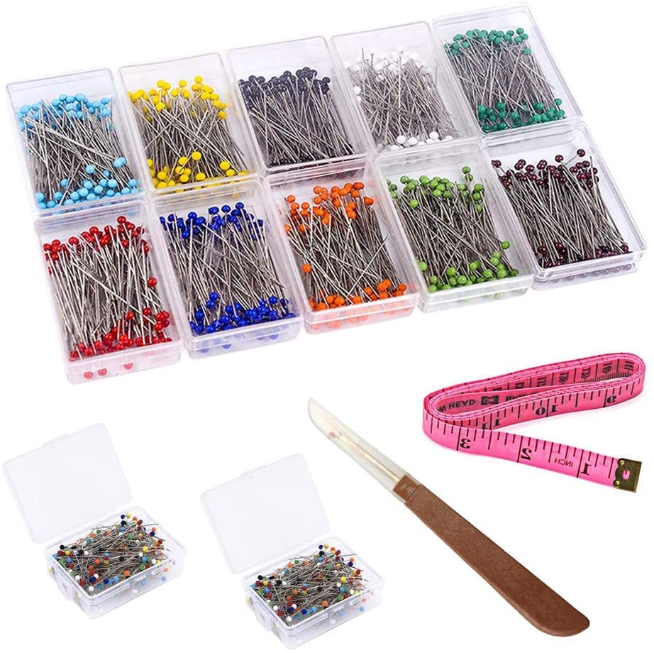 SITAKE 1200 PCS Sewing Pins(3.8cm / 49 in), Glass Head Dressmaking Pins Multicolor with Tape Measure and Thread Cutter for Decoration, Dressmaking, DIY Crafts