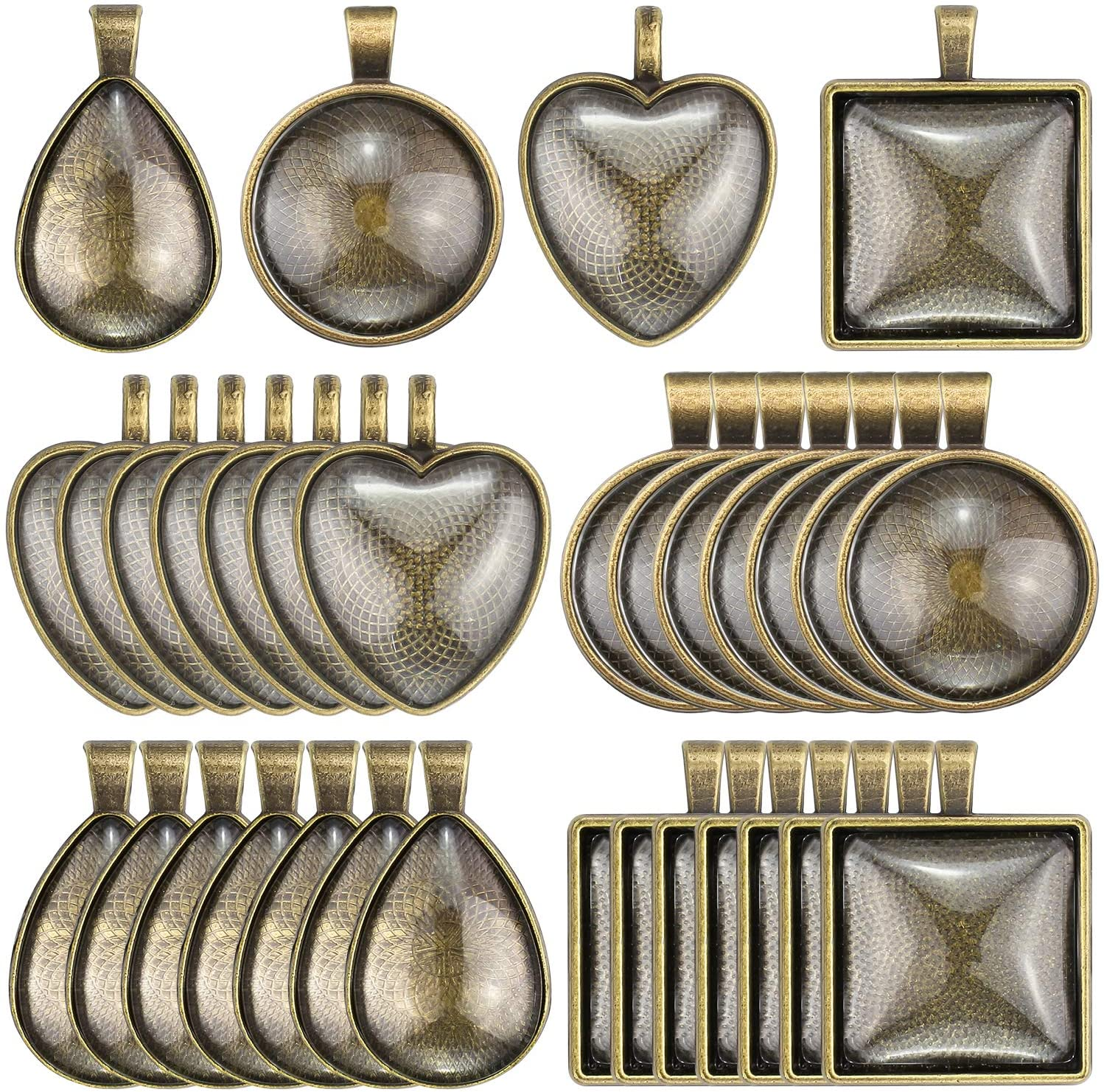 Maicreafie 64 Pieces 4 Styles Pendant Trays 32pcs Round & Square & Heart & Teardrop and 32pcs Bright Glass Cabochon Dome Tiles for Crafting DIY Jewelry Gift Making, Bronze