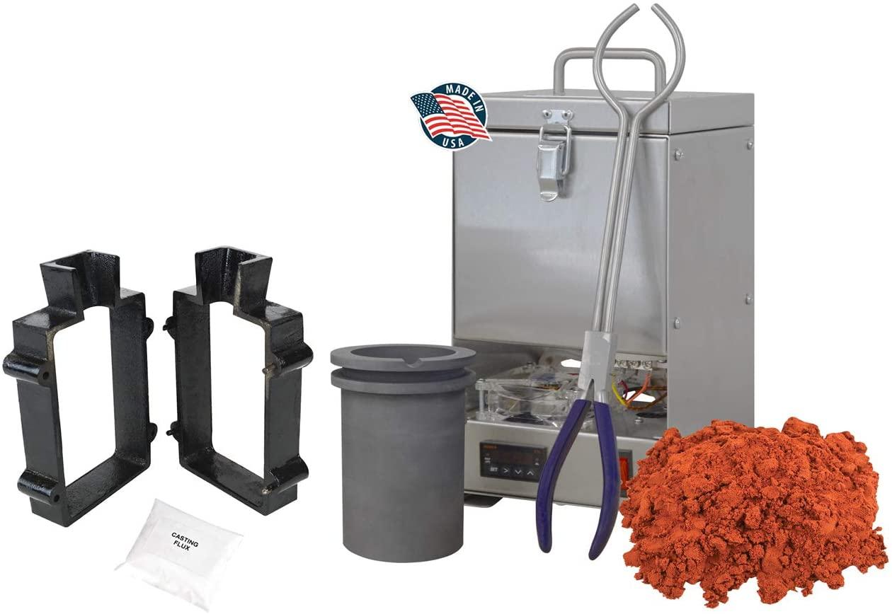 120 Oz QuikMelt Tabletop Furnace Sand Casting Set 10 Lbs Petrobond, Tongs, Crucible, Cast Iron Mold Flask Frame, Parting Powder, Flux Melt Precious Metals