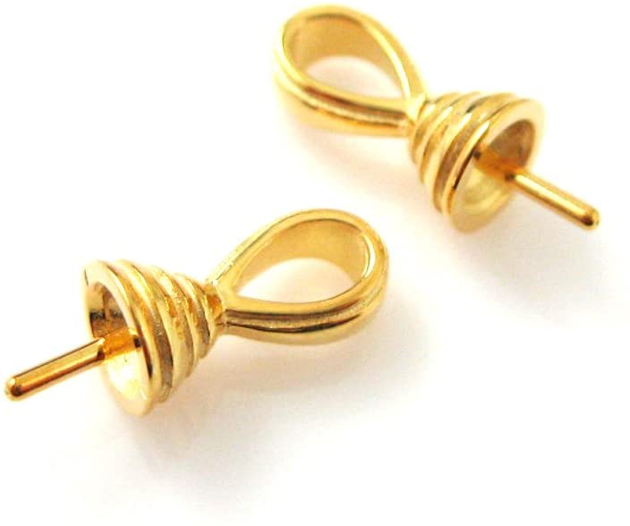 Vermeil,22k Gold plated,925 Sterling Silver,Fancy Bead caps,Bead cap with post (2 pcs)