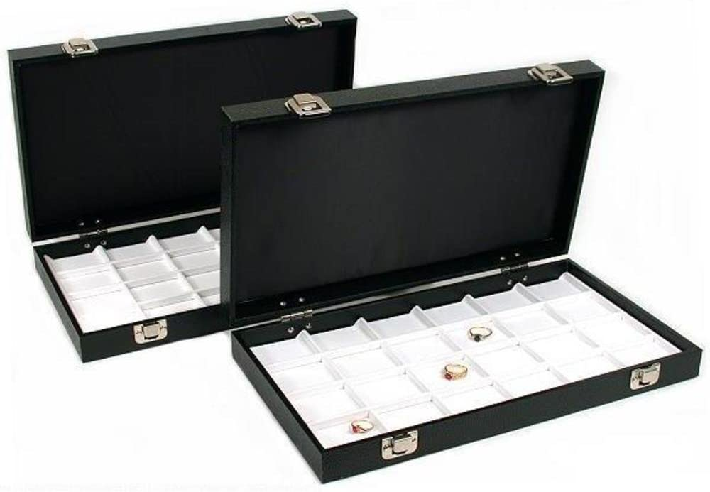 48 Slot Display White Faux Leather Tray Travel Case