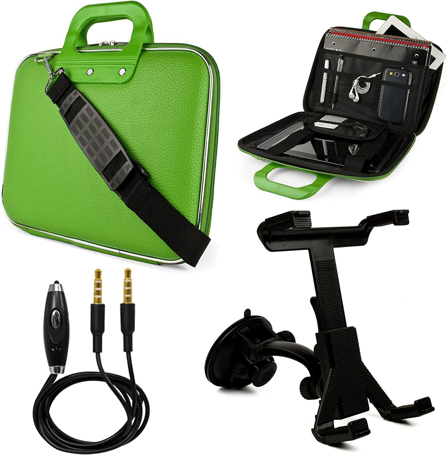 Cady 9 inch Tablet Messenger Bag for NeuTab Tablets up to 10.5 inches with Mount and 3.5mm Auxiliary Cable