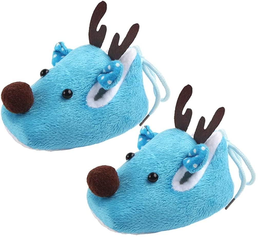 Happyyami Newborn Christmas Shoes Deer Slippers Booties Anti Slip Socks Boots Winter Warm Prewalker Infant Baby Cartoon Booties Crib Shoes Footwear Blue Free Size