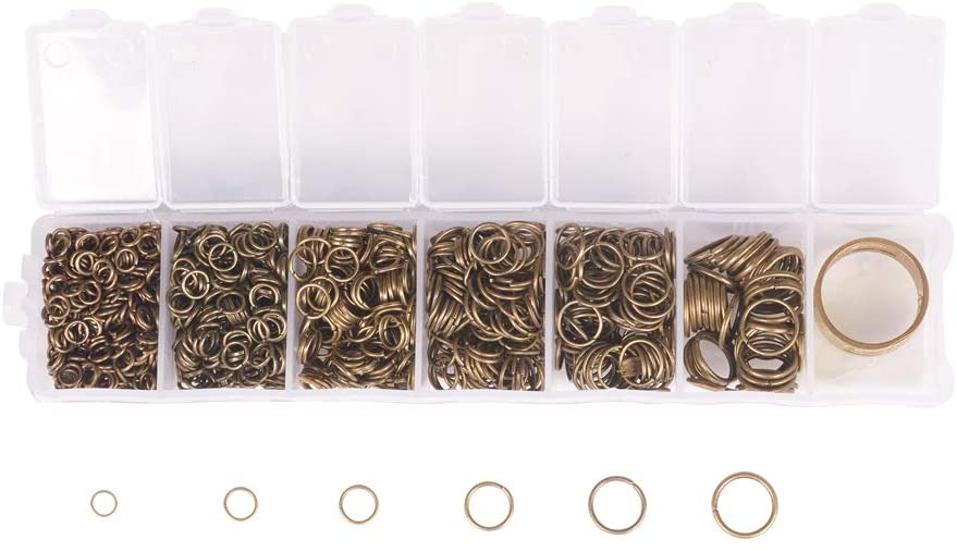 NBEADS 1 Box Iron Jump Rings, Close but Unsoldered and Assistant Tool Brass Rings, Antique Bronze, Jump Rings: 4-10x0.7-1mm, Brass Rings: 17mm; About 1500pcs/box, 85g/Box