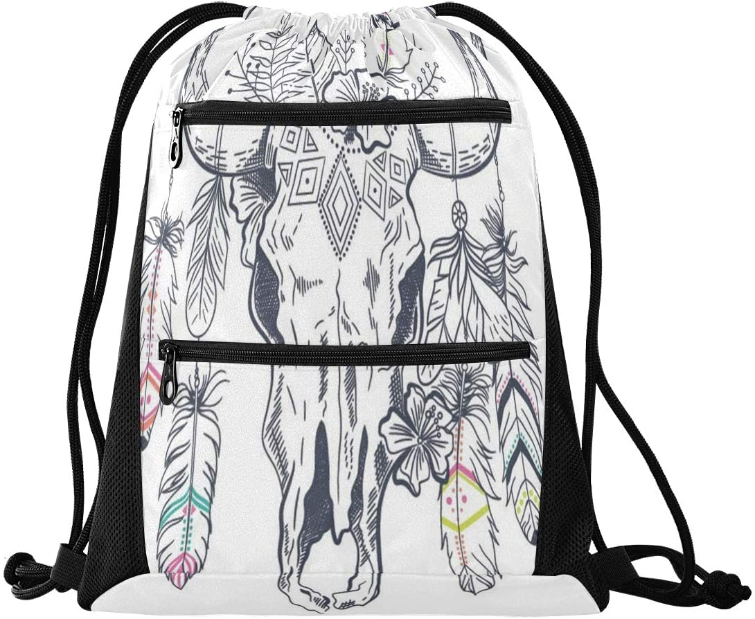 N /A Drawstring Backpack Bag Bull Skull with Feathers On Horns Gym Bag, Draw String Bags, Cinch Sack