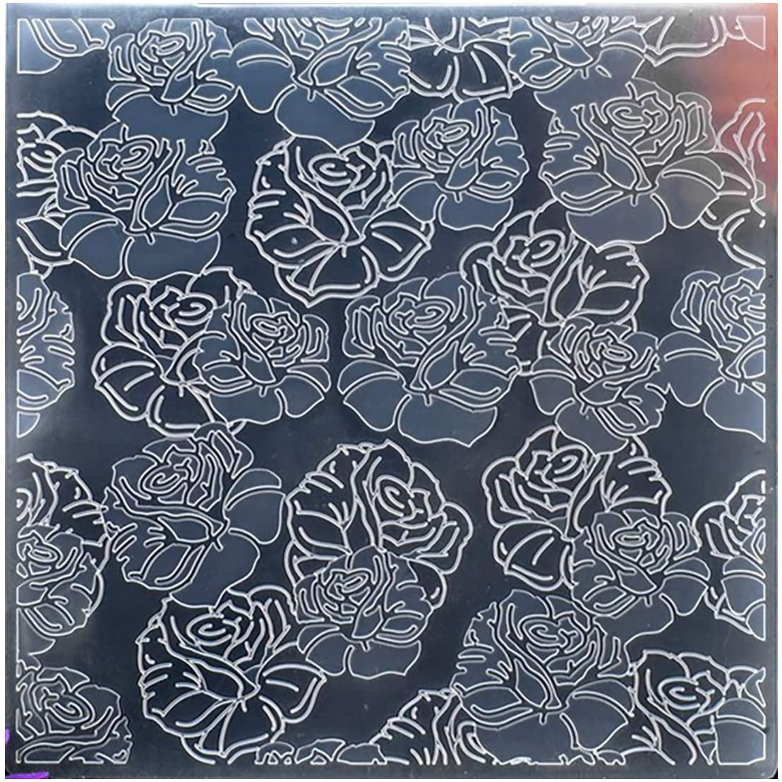 Kwan Crafts Flowers Plastic Embossing Folders for Card Making Scrapbooking and Other Paper Crafts, 15x15cm