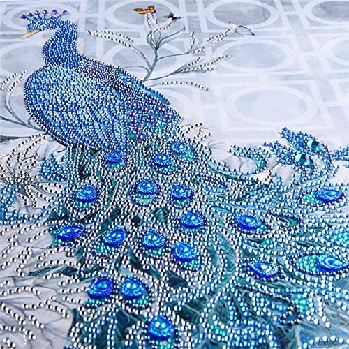DIY 5D Shaped Diamond Painting Kit, Blue Peacock Needlework Embroidery Kits Arts Craft Canvas Supply for Home Wall Decor Adults and Kids 19x16 inch (SJ1047)