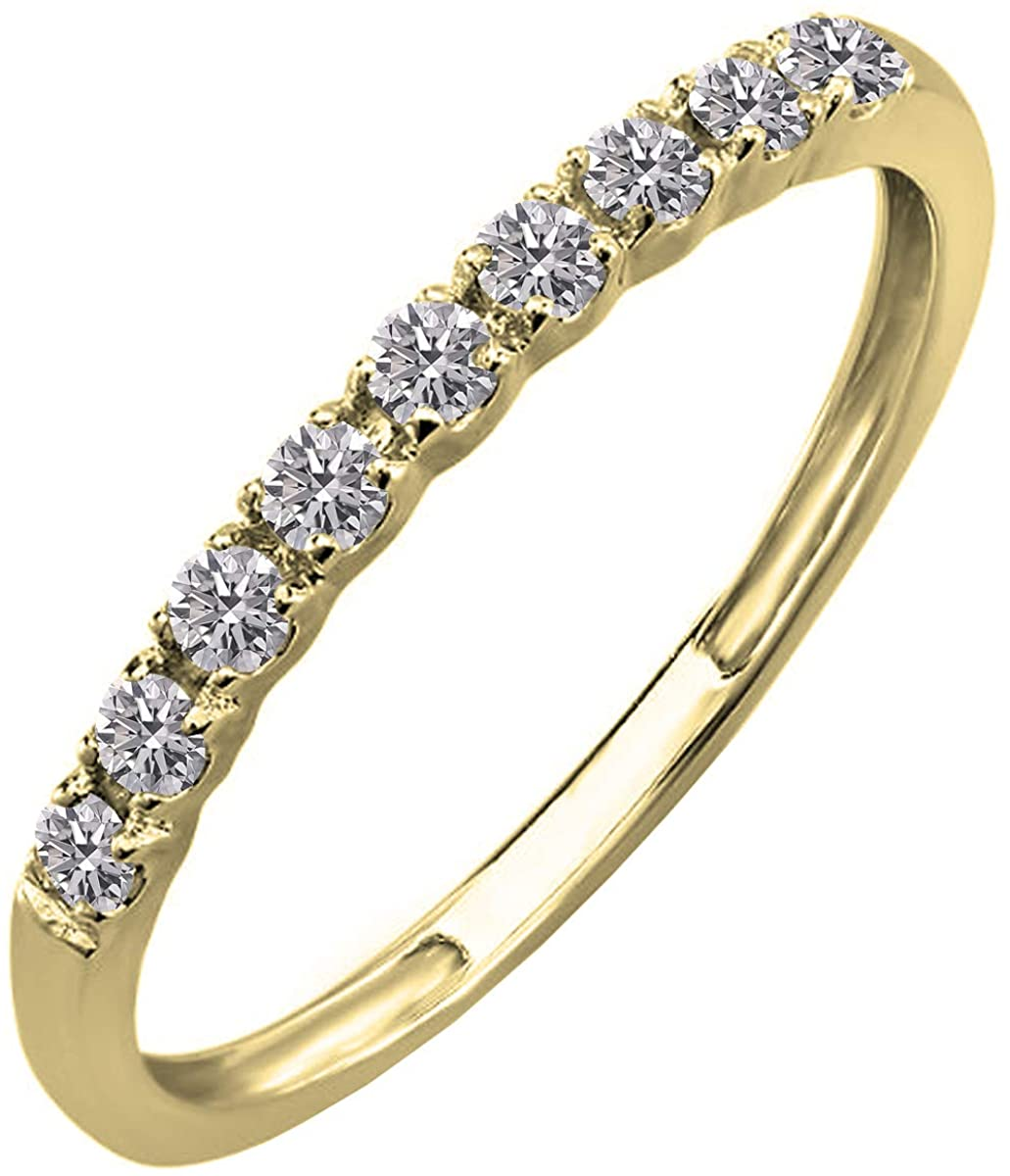 Dazzlingrock Collection 0.25 Carat (ctw) 14K Gold Round Lab Grown Diamond Ladies Wedding Band Enhancer Guard 1/4 CT