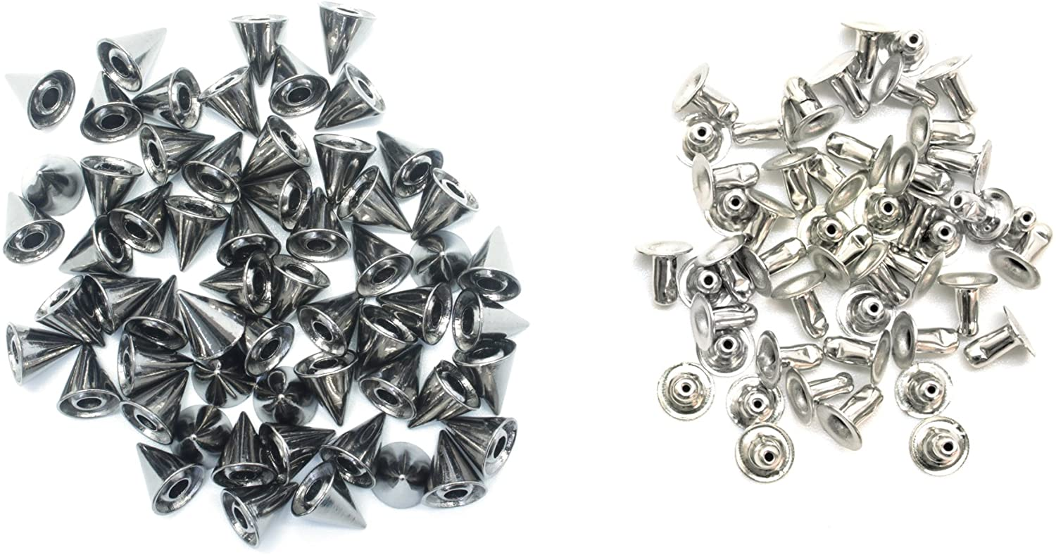 100 X 7.5Mm X 8Mm Brass Punk Cone Spike Studs with Pins Belt Bag Clothing Leather Craft
