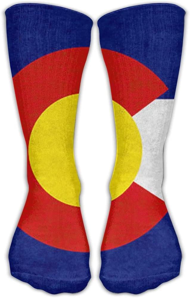 Pin-1 Vivid Colorado Flag Athletic Socks Novelty Running Long Sock Cotton Socks