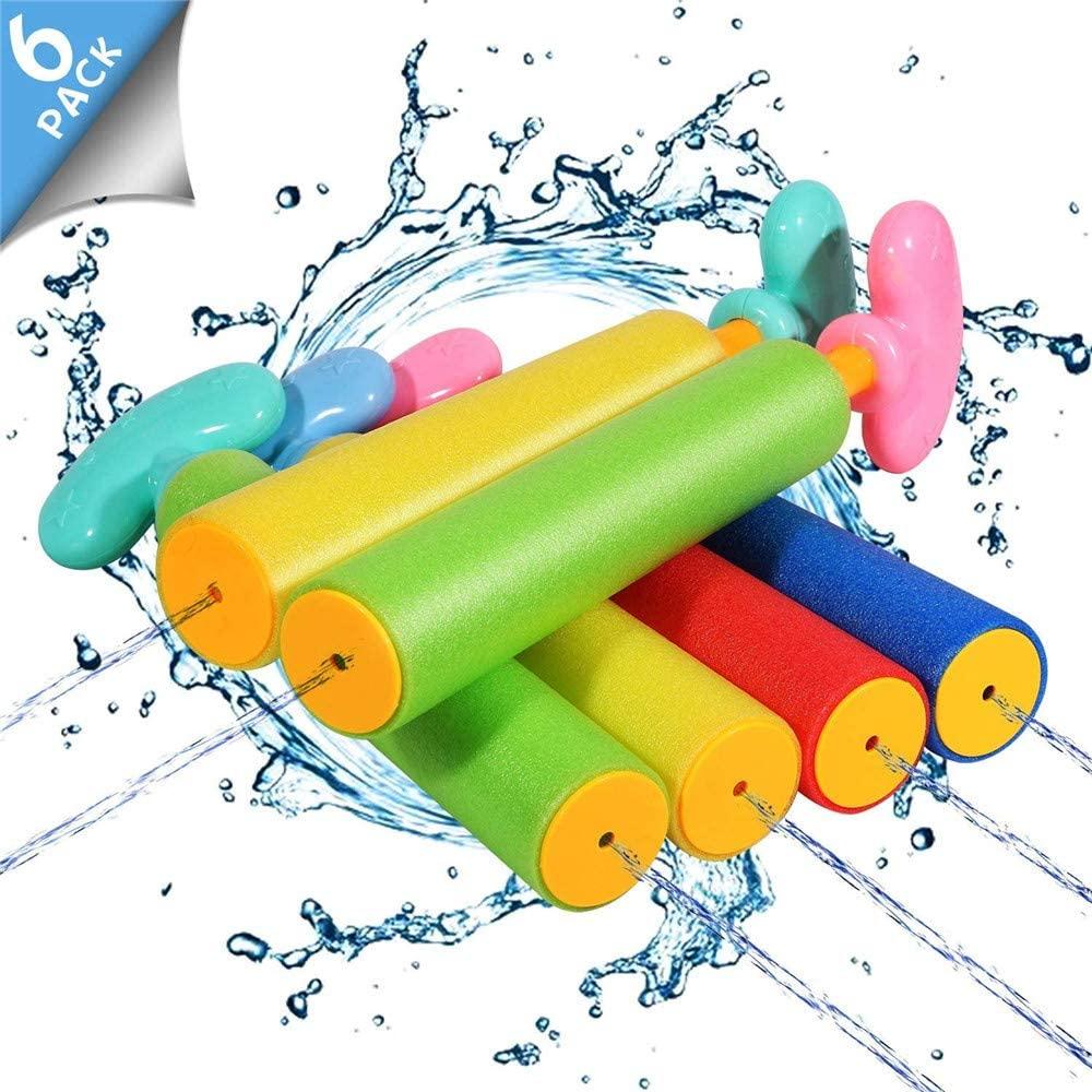 6 Pack Foam Water Blaster Set Water Guns for Kids Water Gun Blaster Shooter Swimming Pool Outdoor Beach Play Game Toy