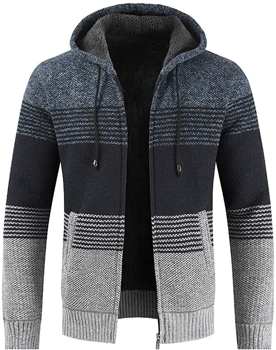 Men's Thickened Sherpa Lined Contrast Color Hooded Knit Sweater Cardigan