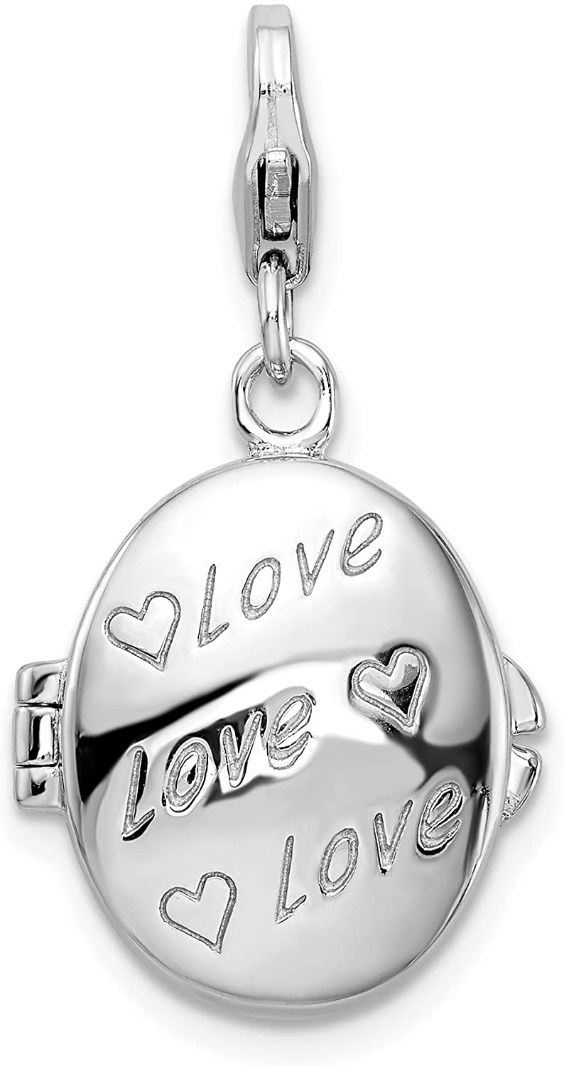 Amore LaVita Sterling Silver Enameled Love Heart Compact with Lobster Clasp Charm