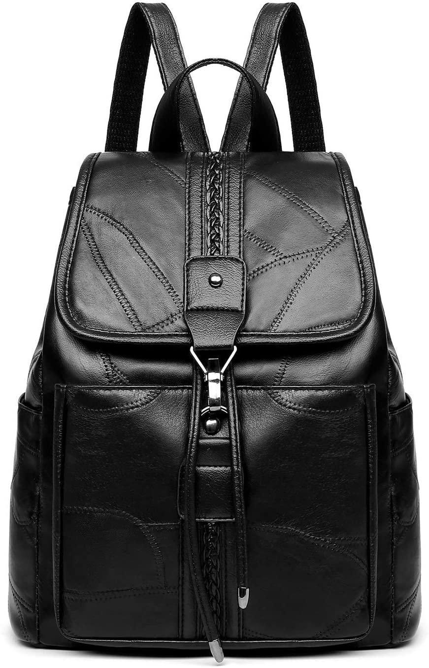 Fashion Bag Great PU Sheepskin Double Shoulders Bag School Travel Backpack Bag (Color : Black, Size : OneSize)