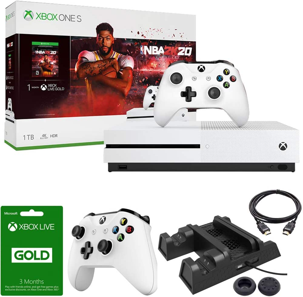 Microsoft Xbox One S 1TB Console with NBA 2K20 Bundle with Xbox Wireless Controller (White), Xbox Live 3 Month Gold Membership, Deco Gear Joystick Thumb Grips, 3-in-1 Vertical Stand and HDMI Cable