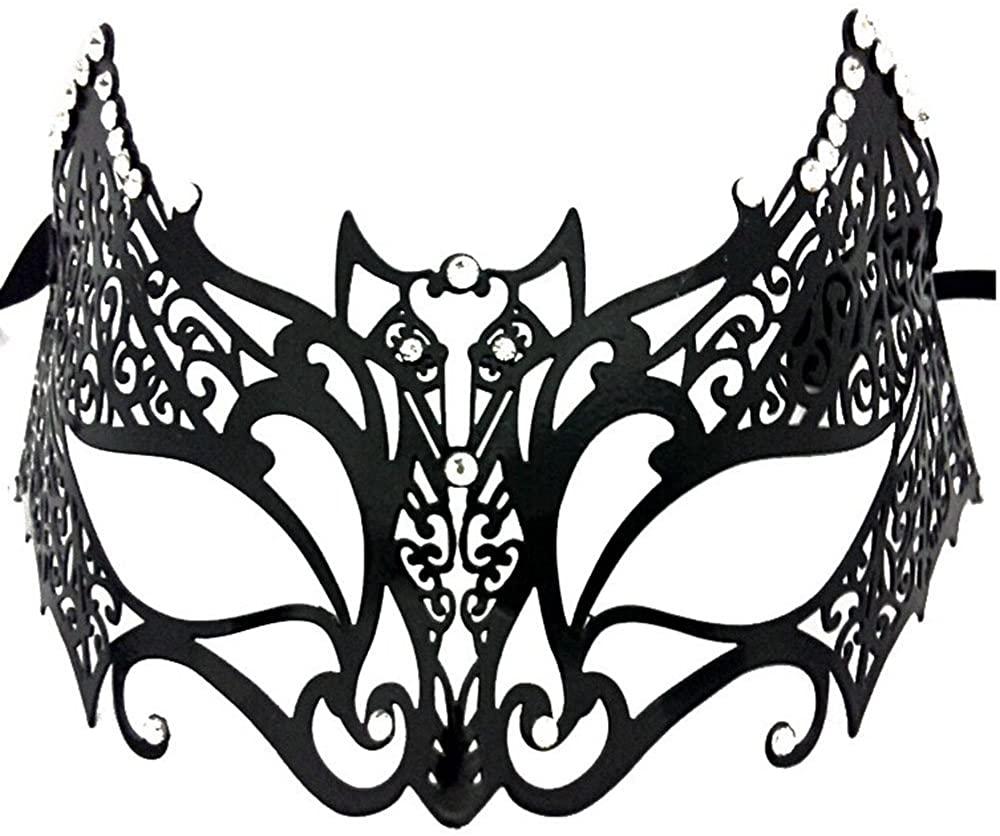 Newrara Bat Laser Cut Venetian Masquerade Mask with Sparkling Rhinestones Black