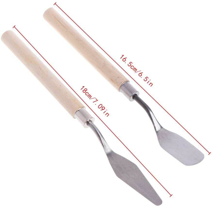Pigment Paint, 2Pcs Stainless Steel Palette Knife Spatula Scraper for Mixing Art Oil Painting - Reinly