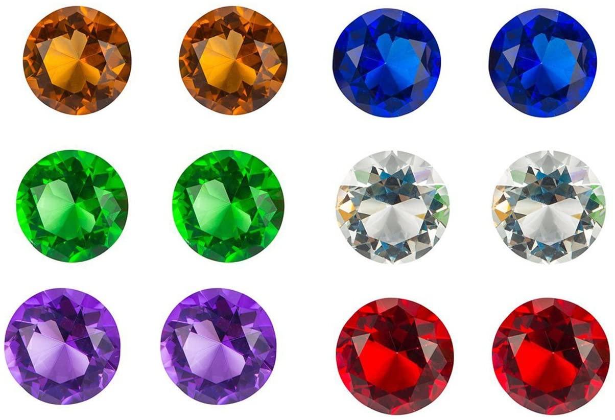 Acrylic Gemstones, Diamond Jewels (1.75 in, 12 Pieces)