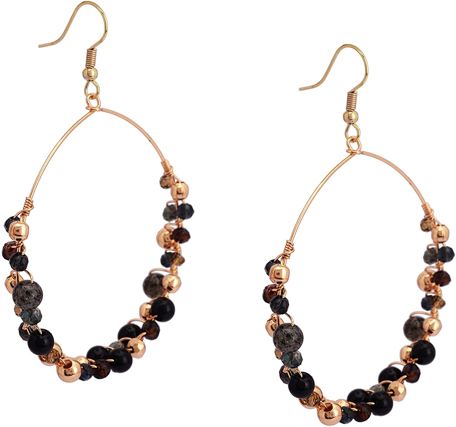 Zephyrr Bollywood Fashion Black Hoop Earring Jewelry For Women & Girls Trendy Hand Beaded Daily Wear Lightweight Casual Floral Hoops (JAE-4892)