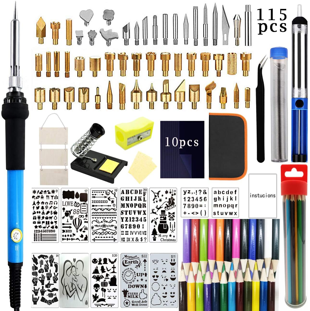 Onmust Wood Burning Kit, Professional Pyrography Kit with Adjustable Temperature Soldering Iron, Woodburning Tool for Embossing Carving Soldering Tips