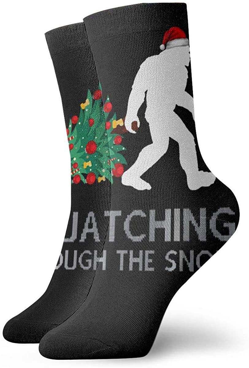 Christmas Squatching Bigfoot Xmas Short Crew Socks Athletic Tube Socks For Men Women