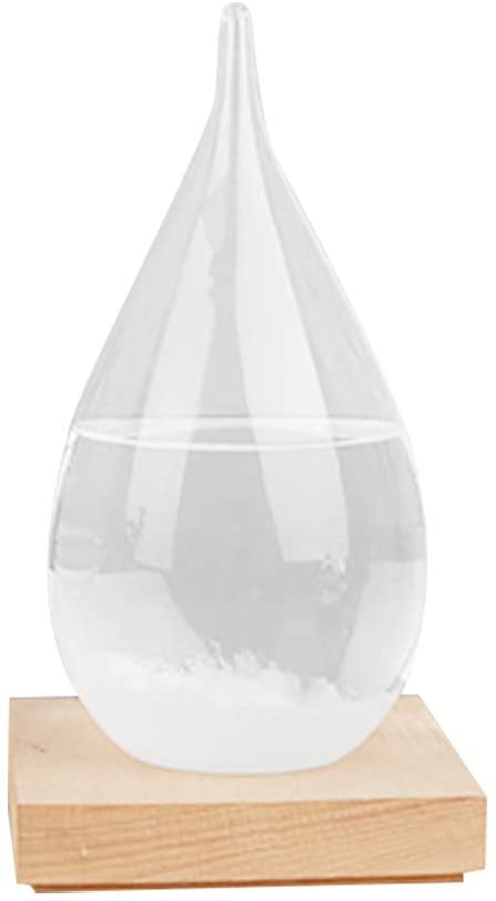 Weather Forecast Water Drop Glass Bottle with Base,Creative Stylish Barometer Bottles Crystal Bottle Desktop Decoration Christmas Birthday Gift (Clear)
