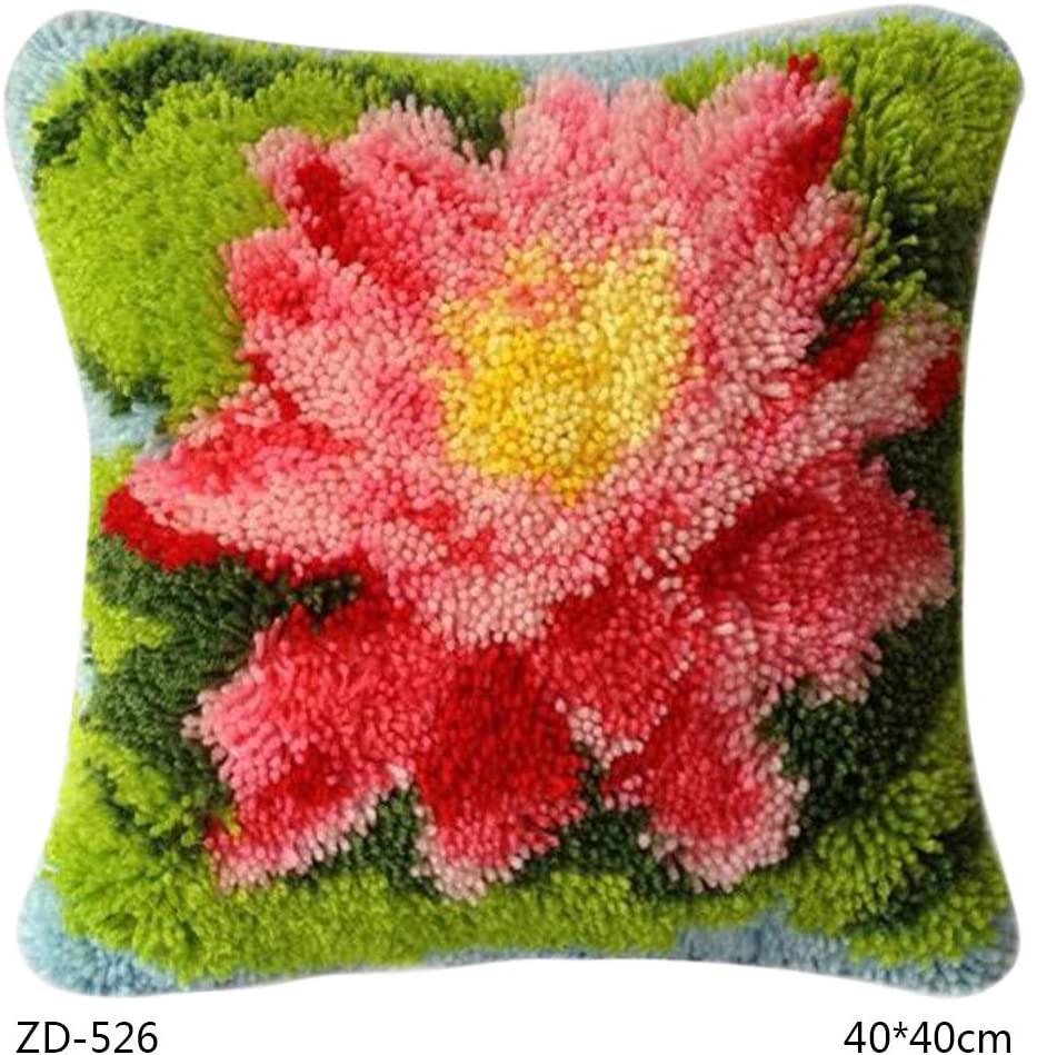 lipiny Flower Series DIY Latch Hook Rug Kit 3D Segment Embroidery Pillow Wool Cross Stitch Carpet Set for Indoor Outdoor School Office Kitchen Home