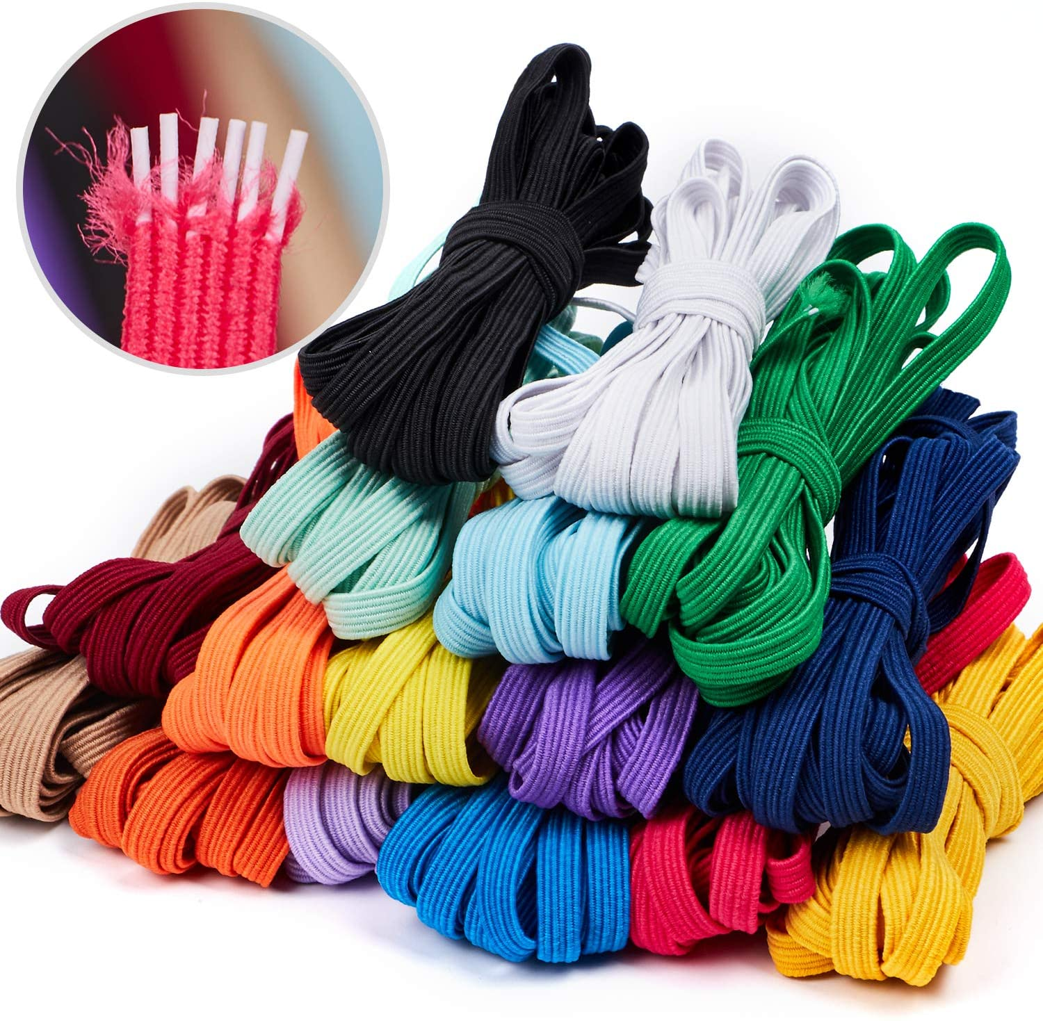 16 Colors Elastic Band for Sewing 1/4 inch Braided Flat Elastic Cord Homemade Mask Rope Heavy Stretch for Sewing and Crafting High Elasticity Knit Spool Bedspread Cuff for Adult DIY(48 Yards Length)