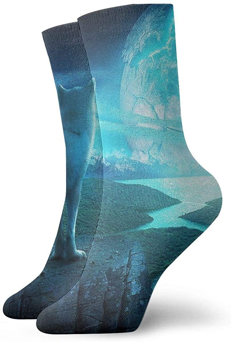Wolf Star Planet Short Crew Socks Athletic Tube Socks For Men Women