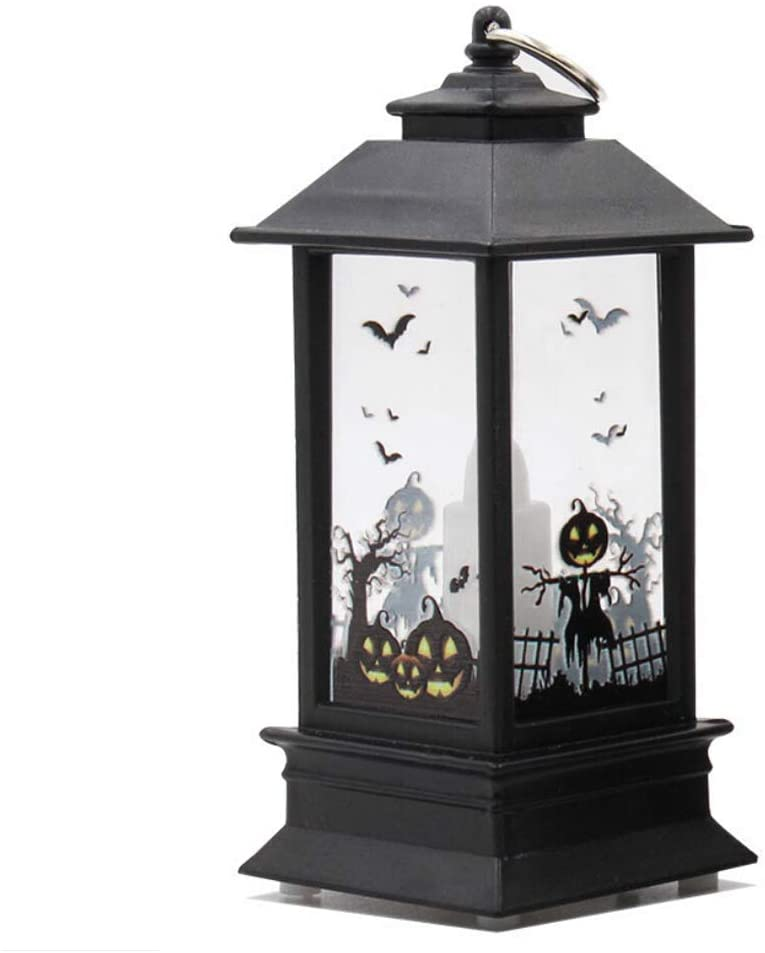 itifu Halloween Atmosphere Lights Flame Lamp Pumpkin Lantern (Witch,Pumpkin,Skull,Ghost Hand,Castle)-Large Size,Pumpkin