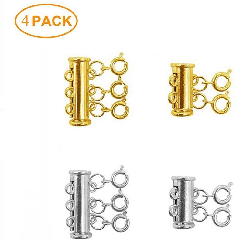 Layered Necklace Spacer Clasps, 2/3 Strands Slide Magnetic Tube Lock with Lobster Clasps for Bracelet, Necklace, Pearls, Jewelry and Crafts (Gold & Silver)