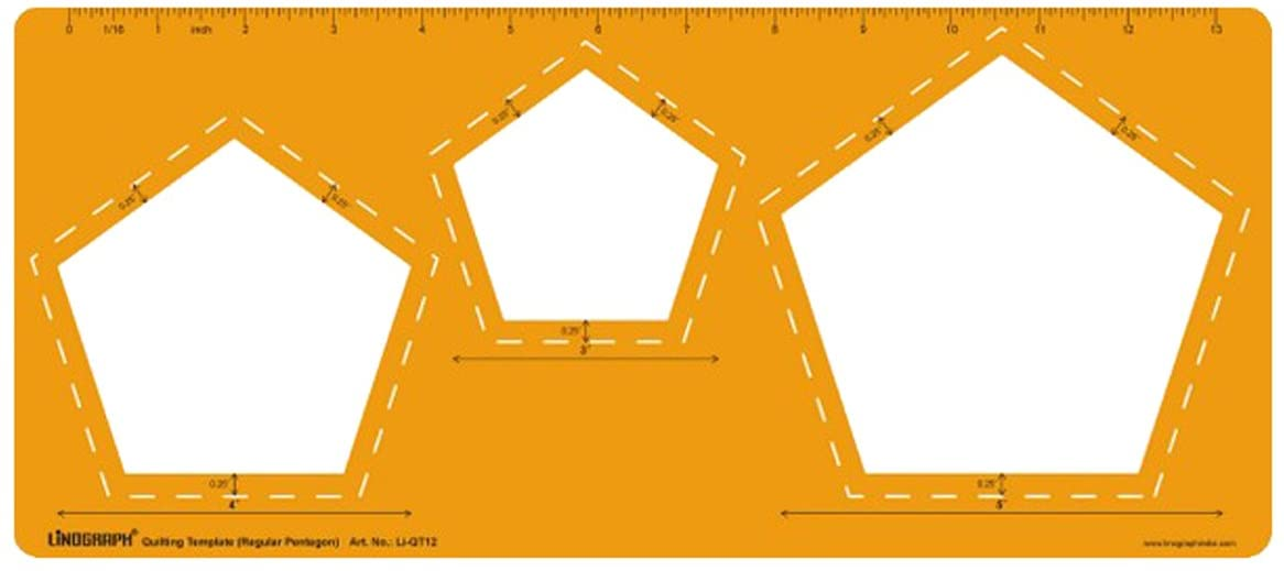 Regular Pentagon Patch Cutting Drawing Stencil Quilting Template by LINOGRAPH